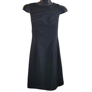 H&M Dress Black Copper Midi Zip Like Front